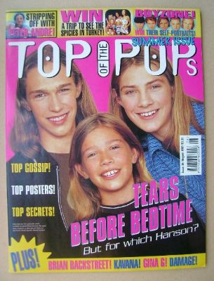 <!--1997-08-->Top Of The Pops magazine - Hanson cover (August 1997)