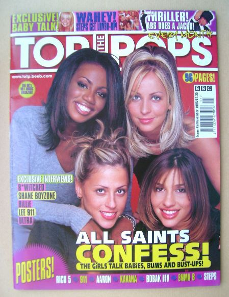<!--1998-11-->Top Of The Pops magazine - All Saints cover (November 1998)
