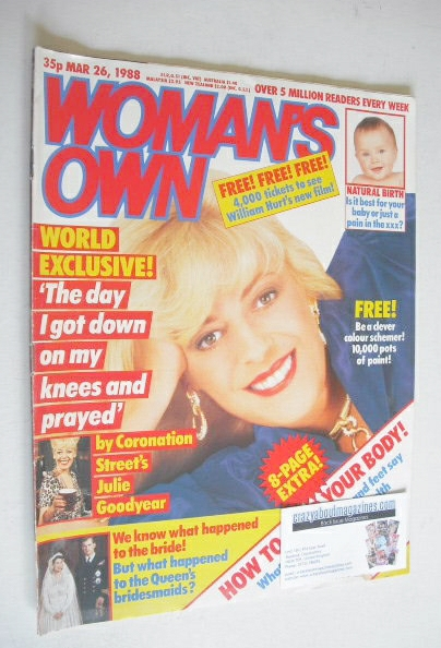 <!--1988-03-26-->Woman's Own magazine - 26 March 1988 - Julie Goodyear cove