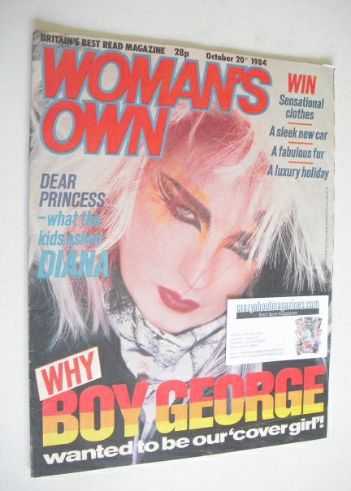 <!--1984-10-20-->Woman's Own magazine - 20 October 1984 - Boy George cover