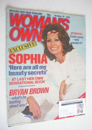 <!--1984-10-13-->Woman's Own magazine - 13 October 1984 - Sophia Loren cove
