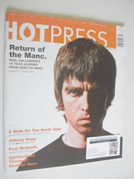 Hot Press magazine - Noel Gallagher cover (10 October 2001)