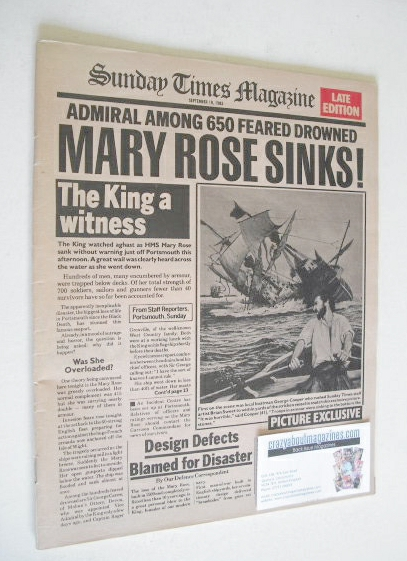 <!--1982-09-19-->The Sunday Times magazine - Mary Rose cover (19 September
