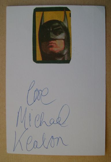 Michael Keaton autograph (hand-signed white card)