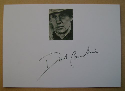 David Carradine autograph (hand-signed white card)