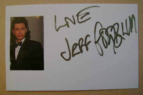 Jeff Goldblum autograph (hand-signed white card)