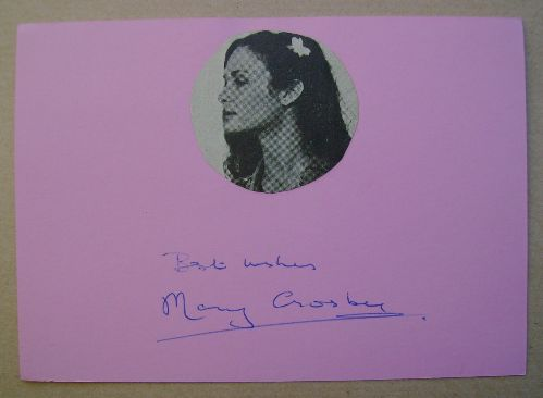 Mary Crosby autograph (hand-signed card)