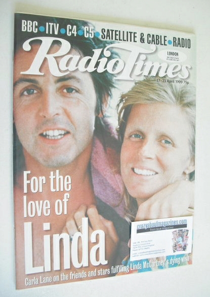 <!--1999-04-17-->Radio Times magazine - Paul and Linda McCartney cover (17-