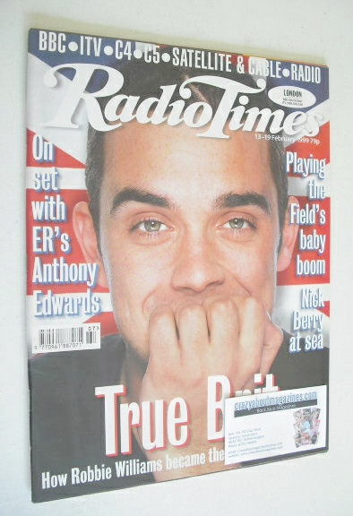 <!--1999-02-13-->Radio Times magazine - Robbie Williams cover (13-19 Februa