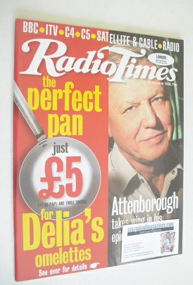 <!--1998-10-17-->Radio Times magazine - David Attenborough cover (17-23 Oct