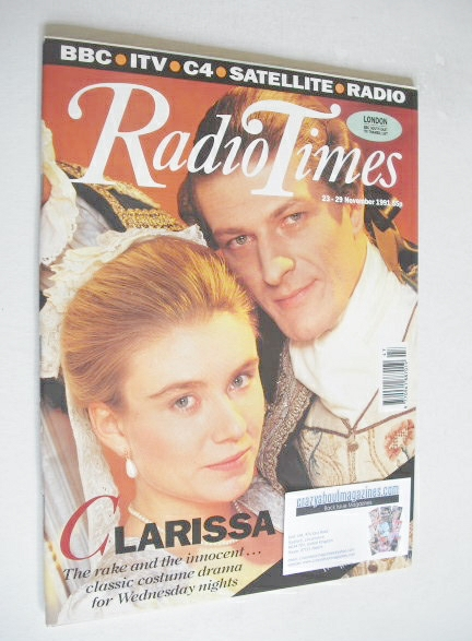 <!--1991-11-23-->Radio Times magazine - Sean Bean and Saskia Wickham cover
