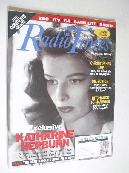 <!--1991-08-24-->Radio Times magazine - Katharine Hepburn cover (24-30 Augu