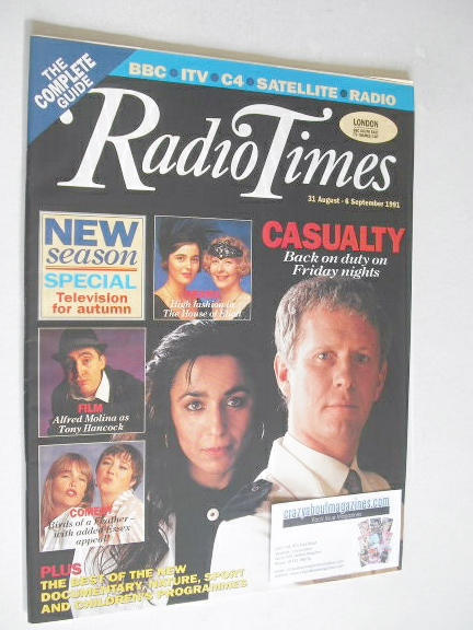 <!--1991-08-31-->Radio Times magazine - Casualty cover (31 August - 6 Septe