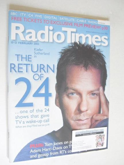 <!--2003-02-15-->Radio Times magazine - Kiefer Sutherland cover (15-21 Febr