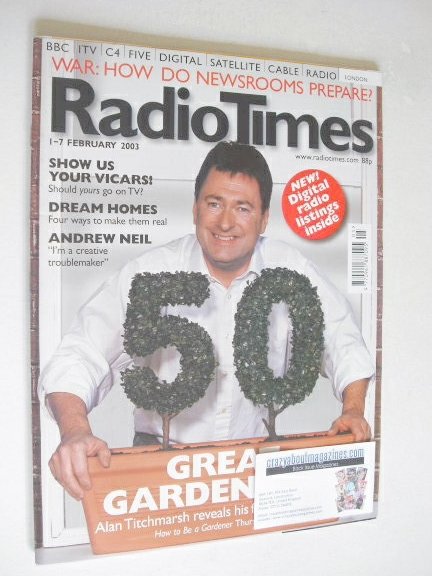 <!--2003-02-01-->Radio Times magazine - Alan Titchmarsh cover (1-7 February