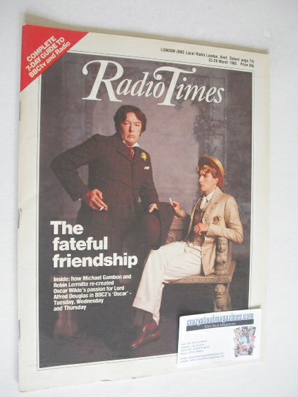 <!--1985-03-23-->Radio Times magazine - Michael Gambon and Robin Lermitte c