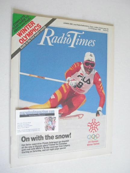 <!--1988-02-13-->Radio Times magazine - Pirmin Zurbriggen cover (13-19 Febr