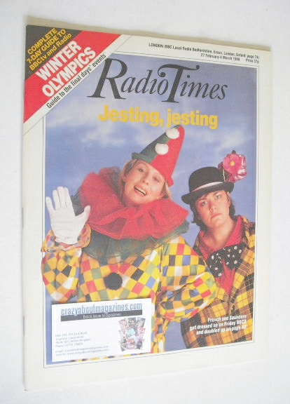 <!--1988-02-27-->Radio Times magazine - Dawn French and Jennifer Saunders c