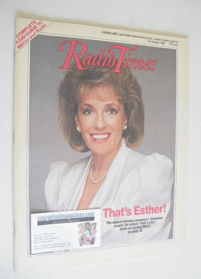 <!--1988-04-23-->Radio Times magazine - Esther Rantzen cover (23-29 April 1