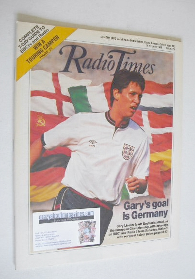 <!--1988-06-11-->Radio Times magazine - Gary Lineker cover (11-17 June 1988
