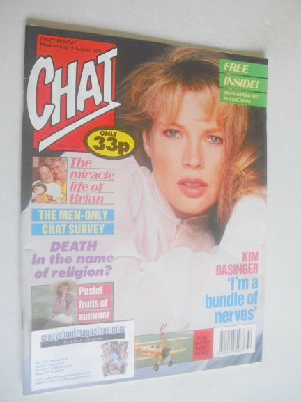 <!--1990-08-11-->Chat magazine - Kim Basinger cover (11 August 1990)