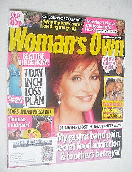 <!--2007-10-22-->Woman's Own magazine - 22 October 2007 - Sharon Osbourne c
