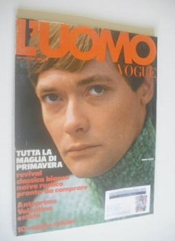 <!--1973-02-->L'Uomo Vogue magazine - February/March 1973 - Simon Ward cover