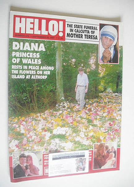 <!--1997-09-20-->Hello! magazine - Princess Diana flowers cover (20 Septemb