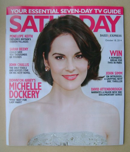 <!--2014-10-18-->Saturday magazine - Michelle Dockery cover (18 October 201