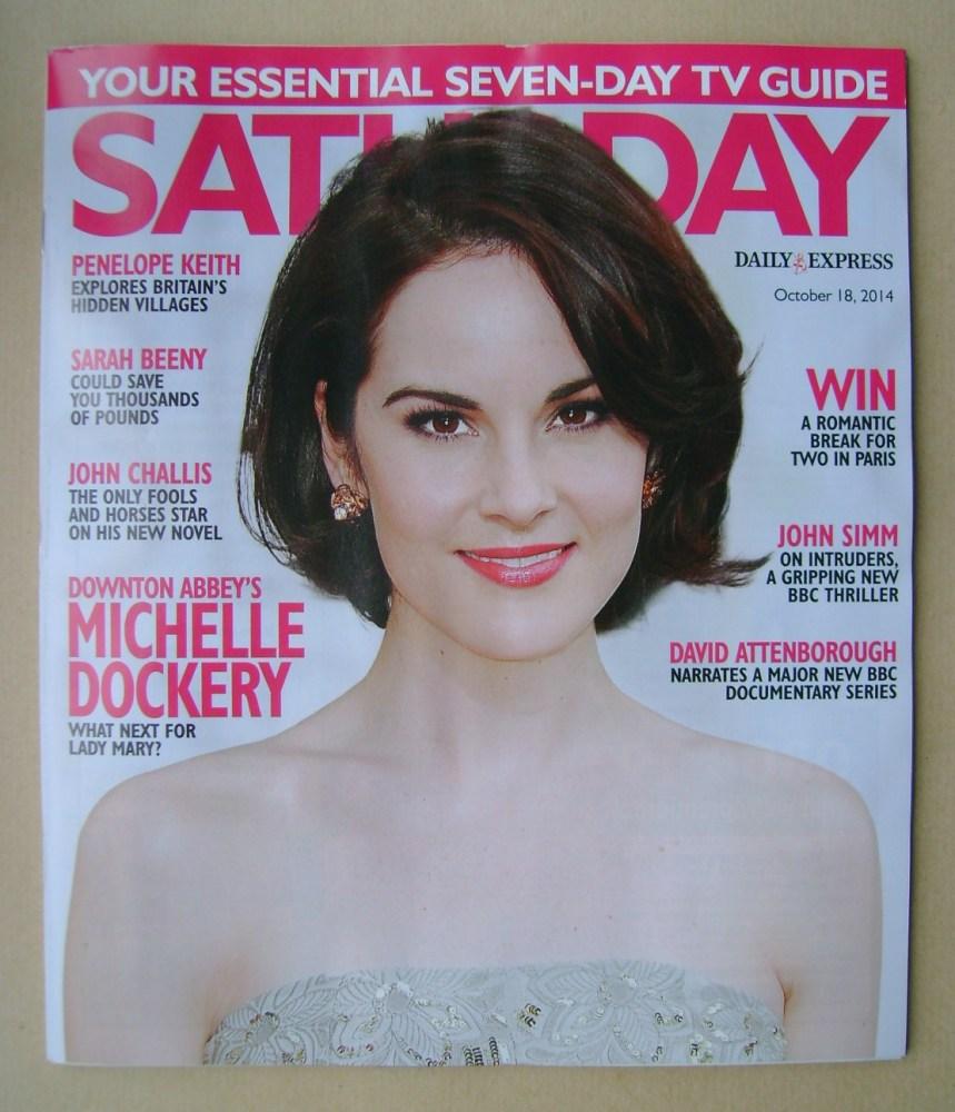 <!--2014-10-18-->Saturday magazine - Michelle Dockery cover (18 October 201