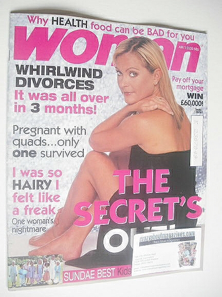 <!--2002-04-01-->Woman magazine - 1 April 2002 - Tracy Shaw cover