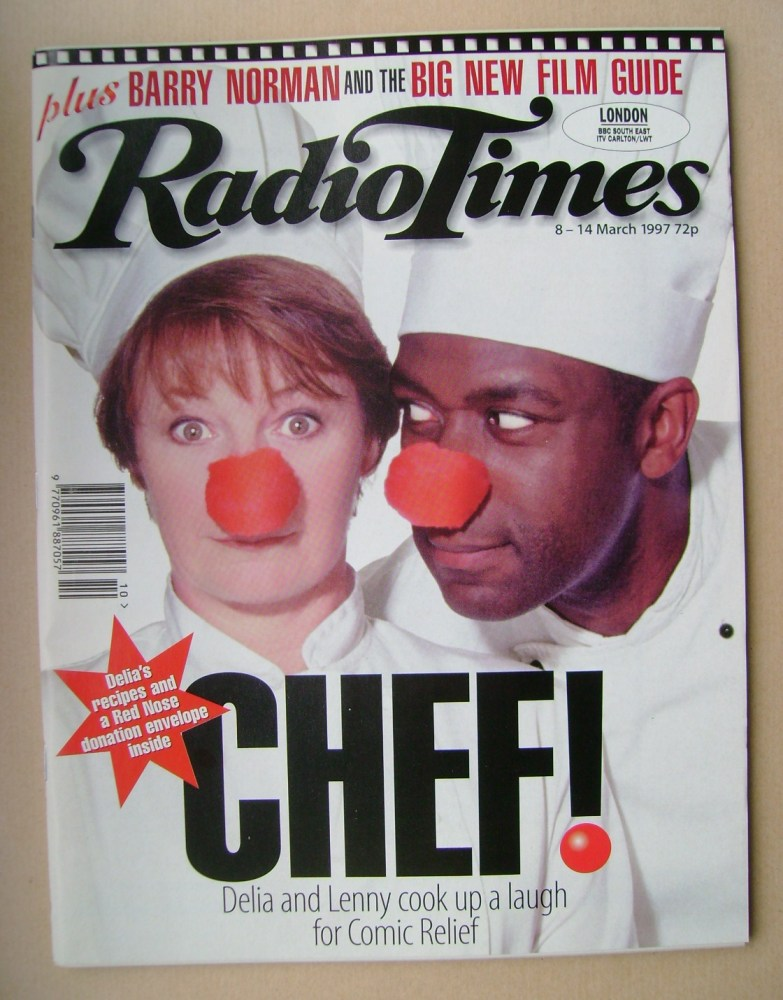 <!--1997-03-08-->Radio Times magazine - Delia Smith and Lenny Henry cover (