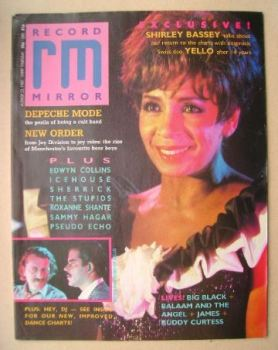 Record Mirror magazine - Shirley Bassey cover (22 August 1987)