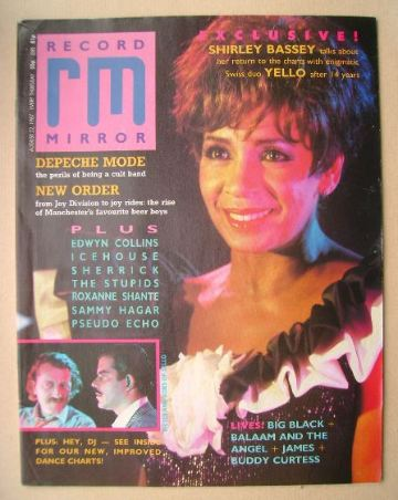<!--1987-08-22-->Record Mirror magazine - Shirley Bassey cover (22 August 1