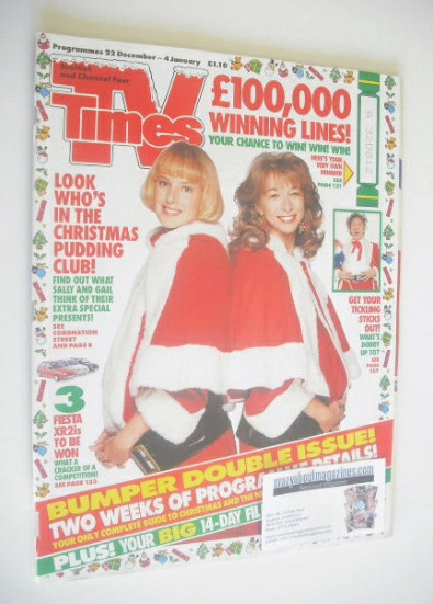 <!--1990-12-22-->TV Times magazine - Sally Dynevor and Helen Worth cover (2