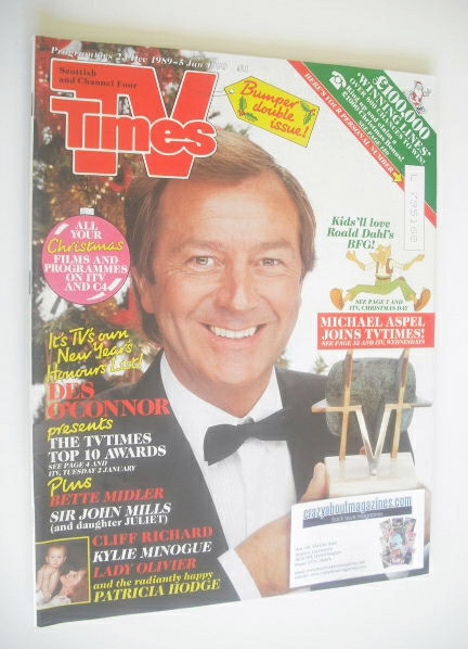 <!--1989-12-23-->TV Times magazine - Des O'Connor cover (23 December 1989 -