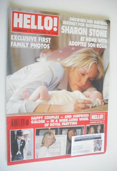 <!--2000-07-04-->Hello! magazine - Sharon Stone cover (4 July 2000 - Issue