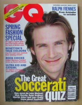 British GQ magazine - March 1995 - Ralph Fiennes cover