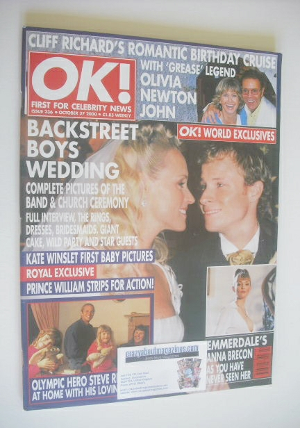<!--2000-10-27-->OK! magazine - Brian Littrell wedding cover (27 October 20