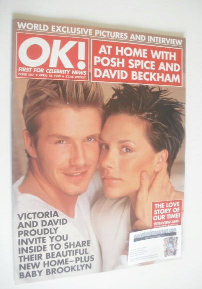 ok magazine david beckham and victoria beckham cover 16 april 1999 issue 157. Black Bedroom Furniture Sets. Home Design Ideas