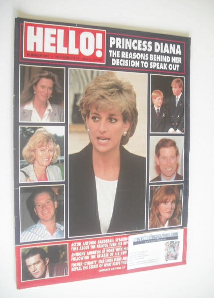 <!--1995-11-25-->Hello! magazine - Princess Diana cover (25 November 1995 -