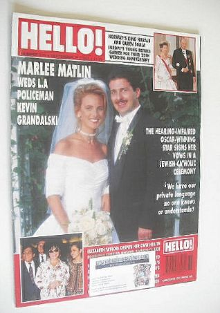 <!--1993-09-11-->Hello! magazine - Marlee Matlin and Kevin Grandalski cover