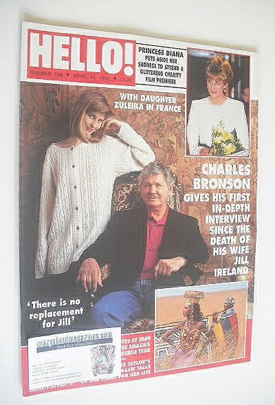<!--1992-04-18-->Hello! magazine - Charles Bronson and Zuleika cover (18 Ap