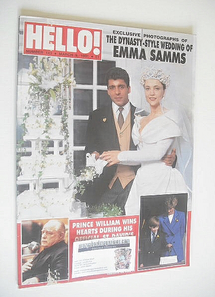 <!--1991-03-09-->Hello! magazine - Emma Samms wedding cover (9 March 1991 -