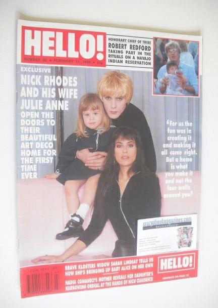 <!--1990-02-17-->Hello! magazine - Nick Rhodes and Julie Anne Rhodes cover