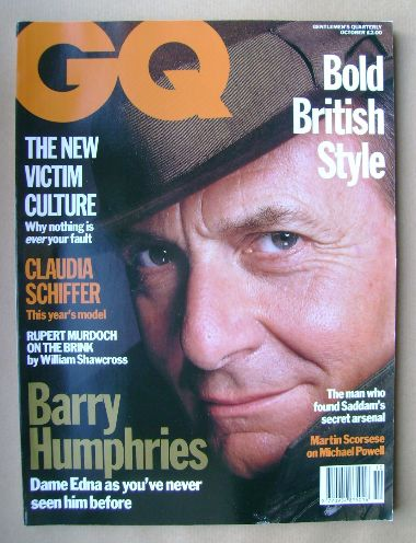 <!--1992-10-->British GQ magazine - October 1992 - Barry Humphries cover