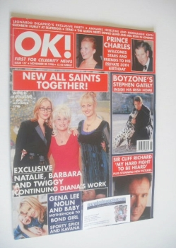 OK! magazine - Natalie Appleton, Barbara Windsor and Twiggy cover (20 November 1998 - Issue 137)