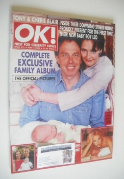 OK! magazine - Tony Blair and Cherie Blair and baby Leo cover (2 June 2000 - Issue 215)