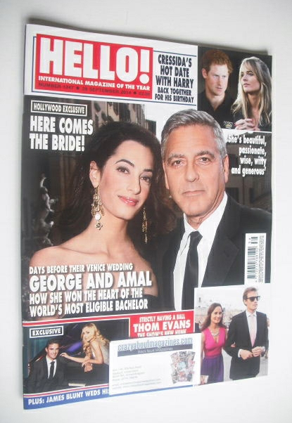 <!--2014-09-29-->Hello! magazine - George Clooney and Amal Alamuddin cover