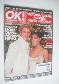 OK! magazine - Victoria Adams and David Beckham wedding cover (16 July 1999 - Issue 170)